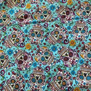 Blue Sugar Skulls fabric